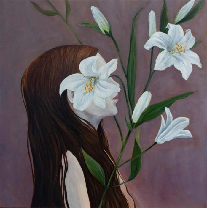 Original art for sale at UGallery.com | Lilium II by Agnieszka Potrzebnicka | $1,000 | oil painting | 20' h x 20' w | ..\art\oil-painting-Lilium-II