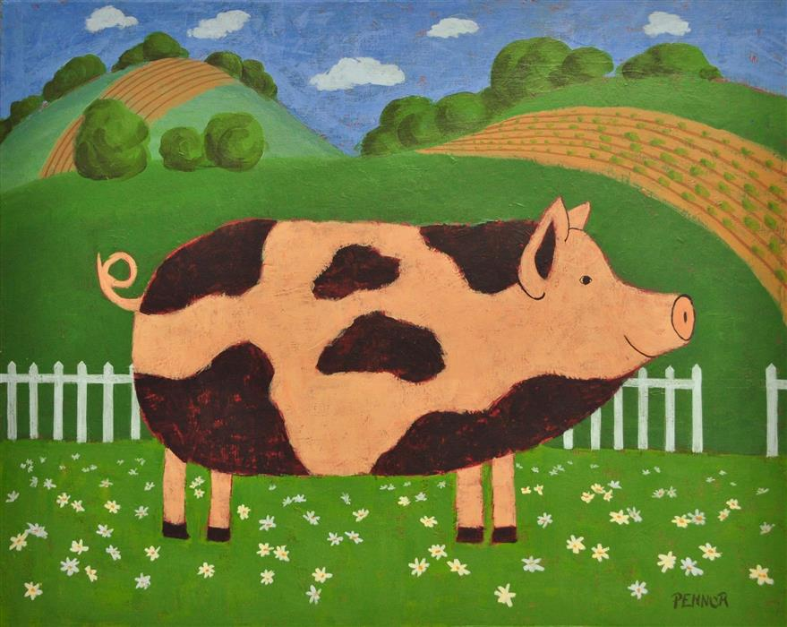 Original art for sale at UGallery.com | Daisy Pig by Carolyn Pennor | $1,150 | acrylic painting | 24' h x 30' w | ..\art\acrylic-painting-Daisy-Pig