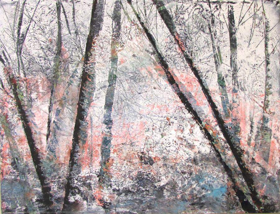 Original art for sale at UGallery.com | Bare Trees #5 by Valerie Berkely | $325 | oil painting | 11' h x 14' w | ..\art\oil-painting-Bare-Trees-5