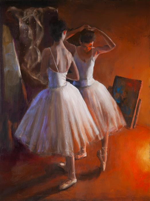 Original art for sale at UGallery.com | Dancers in Orange Light by John Kelly | $2,100 | oil painting | 24' h x 18' w | ..\art\oil-painting-Dancers-in-Orange-Light