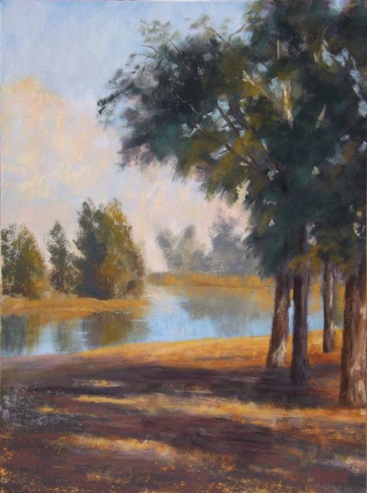 Original art for sale at UGallery.com | The Pond at Windmill Farm by Patricia Prendergast | $375 | pastel artwork | 12' h x 9' w | ..\art\pastel-artwork-The-Pond-at-Windmill-Farm