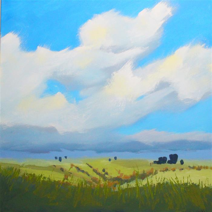 Original art for sale at UGallery.com | Montana Sky by Nancy Merkle | $875 | acrylic painting | 24' h x 24' w | ..\art\acrylic-painting-Montana-Sky