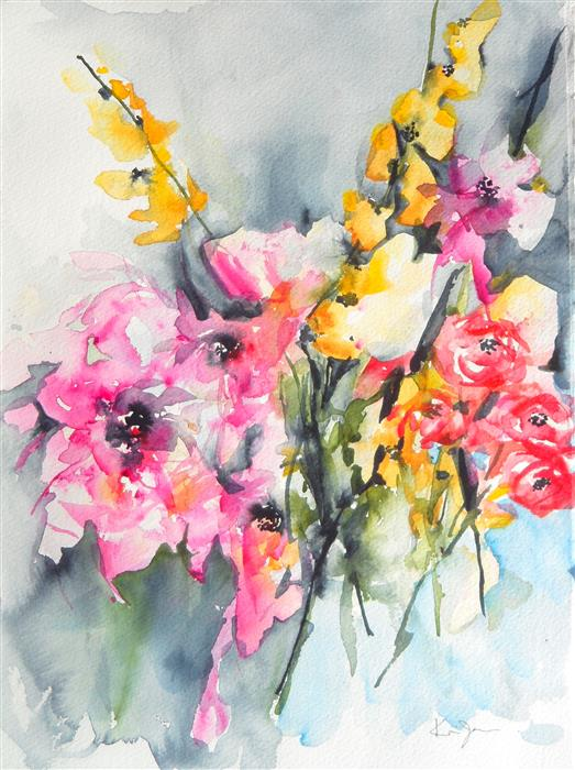 Original art for sale at UGallery.com | Wedding Bouquet by Karin Johannesson | $475 | watercolor painting | 15' h x 11' w | ..\art\watercolor-painting-Wedding-Bouquet