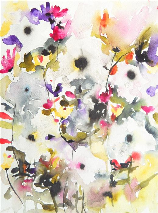 Original art for sale at UGallery.com | Dark Blooms VII by Karin Johannesson | $425 | watercolor painting | 15' h x 11' w | ..\art\watercolor-painting-Dark-Blooms-VII