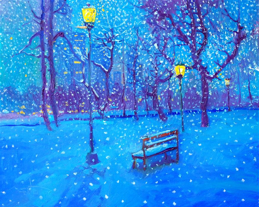Original art for sale at UGallery.com | Snowing in the Park by Suren Nersisyan | $975 | oil painting | 24' h x 30' w | ..\art\oil-painting-Snowing-in-the-Park