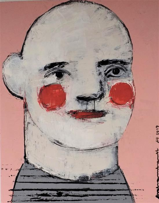 Original art for sale at UGallery.com | Pierrot by Paulina Archambault | $650 | acrylic painting | 20' h x 16' w | ..\art\acrylic-painting-Pierrot