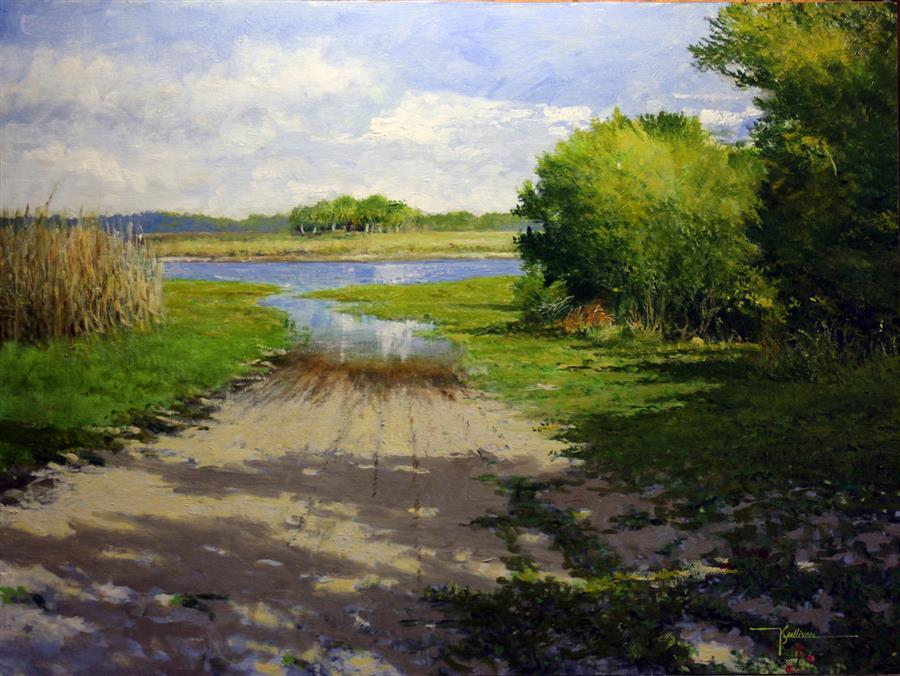 Original art for sale at UGallery.com | Lake Mullet by Kent Sullivan | $1,650 | oil painting | 18' h x 24' w | ..\art\oil-painting-Lake-Mullet