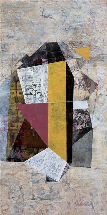 Original art for sale at UGallery.com | Twice around a Resistant Detail by Linnie Brown | $1,200 | mixed media artwork | 36' h x 18' w | ..\art\mixed-media-artwork-Twice-around-a-Resistant-Detail