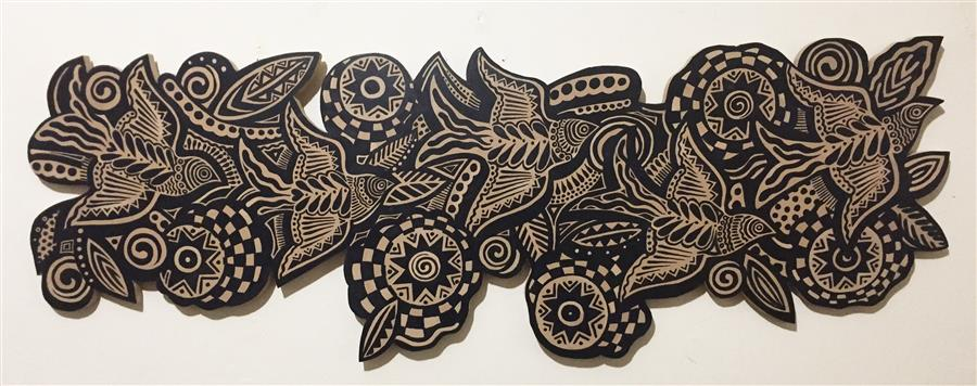 Original art for sale at UGallery.com | Flock-N-Flowers by Johnny Karwan | $1,650 | sculpture | 16' h x 48' w | ..\art\sculpture-Flock-N-Flowers