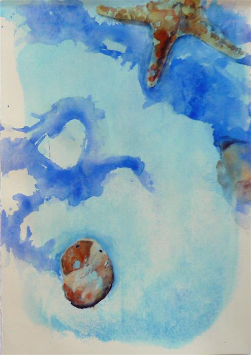 Original art for sale at UGallery.com | Sea Star and Snail by Robin Hanway | $475 | watercolor painting | 15' h x 11' w | ..\art\watercolor-painting-Sea-Star-and-Snail