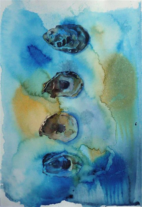 Original art for sale at UGallery.com | 4 Oyster Shells by Robin Hanway | $475 | watercolor painting | 15' h x 11' w | ..\art\watercolor-painting-4-Oyster-Shells