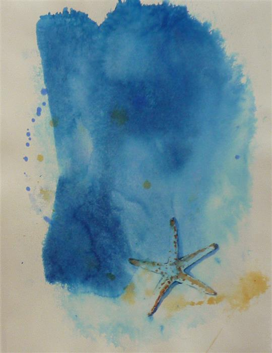 Original art for sale at UGallery.com | Sea Star by Robin Hanway | $475 | watercolor painting | 15' h x 11' w | ..\art\watercolor-painting-Sea-Star