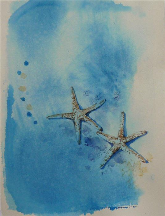Original art for sale at UGallery.com | 2 Sea Stars by Robin Hanway | $475 | watercolor painting | 15' h x 11' w | ..\art\watercolor-painting-2-Sea-Stars