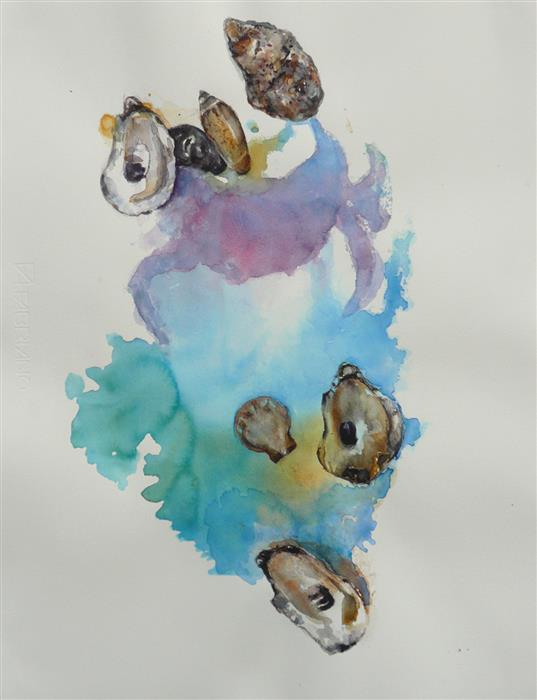 Original art for sale at UGallery.com | Bivalves and Gastropods by Robin Hanway | $650 | watercolor painting | 19.5' h x 14.75' w | ..\art\watercolor-painting-Bivalves-and-Gastropods