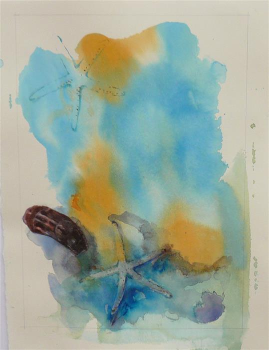 Original art for sale at UGallery.com | Ocean Bottom by Robin Hanway | $475 | watercolor painting | 15' h x 11' w | ..\art\watercolor-painting-Ocean-Bottom