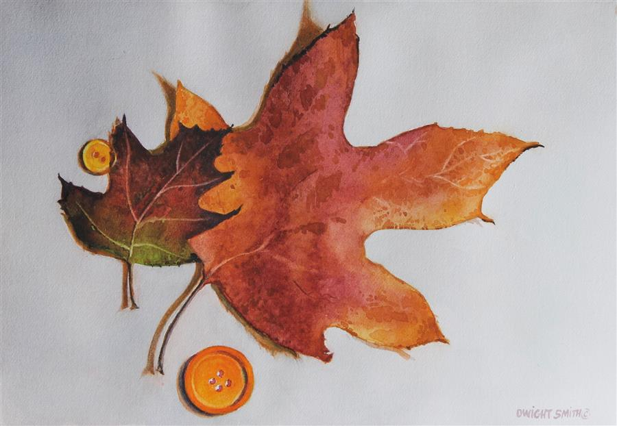 Original art for sale at UGallery.com | Fall Back by Dwight Smith | $300 | watercolor painting | 5' h x 7' w | ..\art\watercolor-painting-Fall-Back
