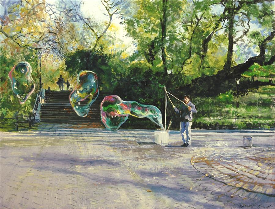 Original art for sale at UGallery.com | Early Autumn Shadows and Bubbles by Onelio Marrero | $1,125 | oil painting | 18' h x 24' w | ..\art\oil-painting-Early-Autumn-Shadows-and-Bubbles