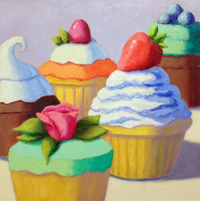 Original art for sale at UGallery.com | Five Cupcakes by Pat Doherty | $975 | oil painting | 18' h x 18' w | ..\art\oil-painting-Five-Cupcakes