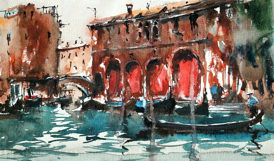 Original art for sale at UGallery.com | Rialto Market by Maximilian Damico | $400 | watercolor painting | 7' h x 11' w | ..\art\watercolor-painting-Rialto-Market
