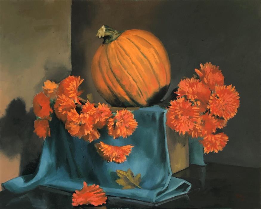 Original art for sale at UGallery.com | The Great Pumpkin by Jesse Aldana | $1,075 | oil painting | 24' h x 30' w | ..\art\oil-painting-The-Great-Pumpkin