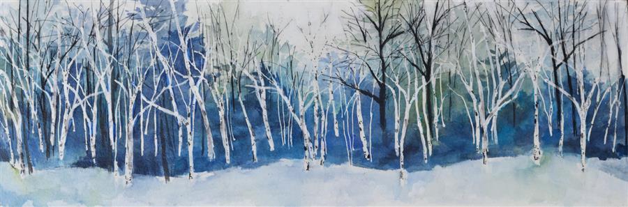 Original art for sale at UGallery.com | Winter Song by Tamara Gonda | $575 | mixed media artwork | 10' h x 30' w | ..\art\mixed-media-artwork-Winter-Song