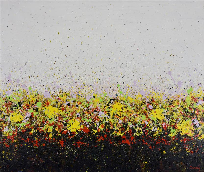 Original art for sale at UGallery.com | Yellow Field by Lisa Carney | $1,550 | acrylic painting | 30' h x 36' w | ..\art\acrylic-painting-Yellow-Field-66633