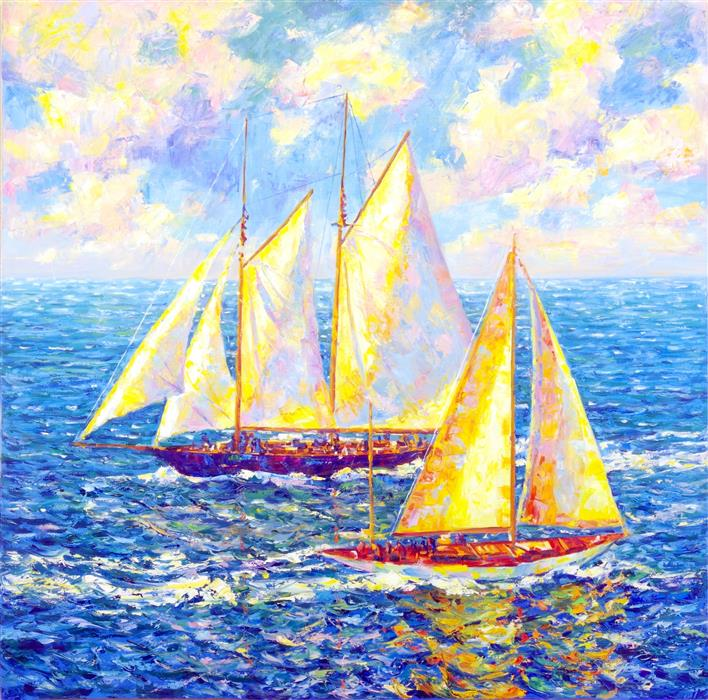 Original art for sale at UGallery.com | Golden Sails by Iryna Kastsova | $2,450 | oil painting | 39' h x 39' w | ..\art\oil-painting-Golden-Sails