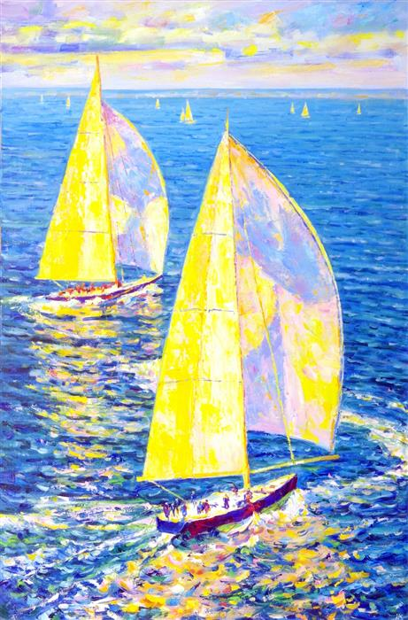 Original art for sale at UGallery.com | Solar Yachts by Iryna Kastsova | $2,900 | oil painting | 47' h x 32' w | ..\art\oil-painting-Solar-Yachts