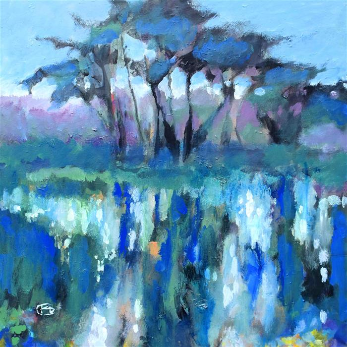 Original art for sale at UGallery.com | Color on the Pond by Kip Decker | $2,000 | acrylic painting | 30' h x 30' w | ..\art\acrylic-painting-Color-on-the-Pond