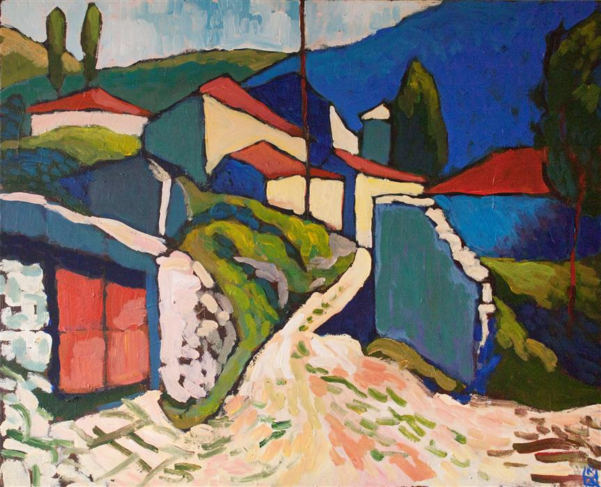 Original art for sale at UGallery.com | Mountain Village by Robert Hofherr | $950 | acrylic painting | 24' h x 30' w | ..\art\acrylic-painting-Mountain-Village-66663
