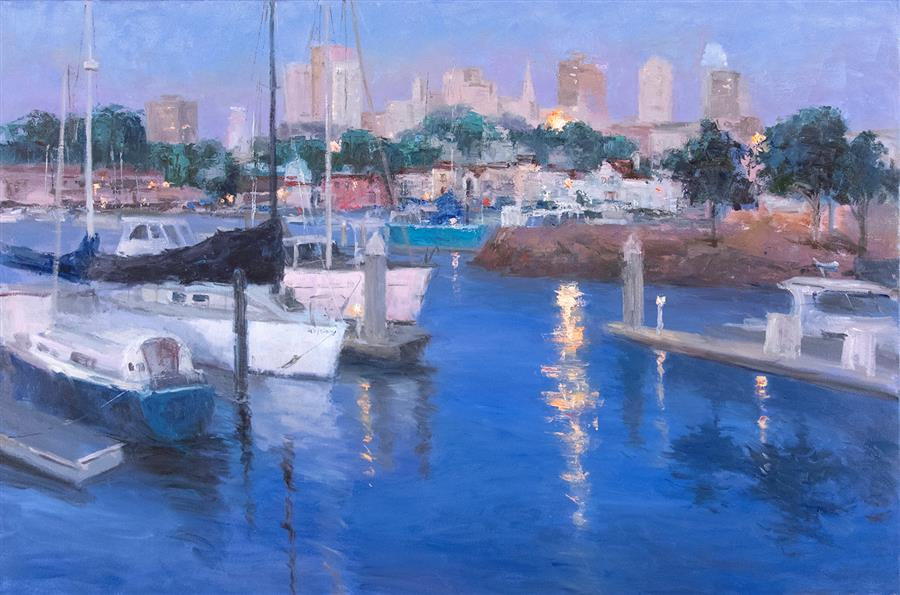 Original art for sale at UGallery.com | San Francisco Marina by Oksana Johnson | $7,975 | oil painting | 40' h x 60' w | ..\art\oil-painting-San-Francisco-Marina