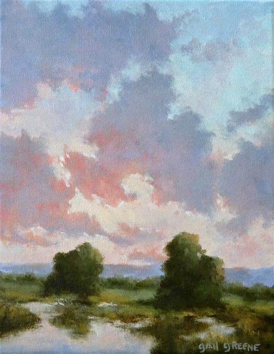 Original art for sale at UGallery.com | Light at Dusk by Gail Greene | $300 | oil painting | 10' h x 8' w | ..\art\oil-painting-Light-at-Dusk