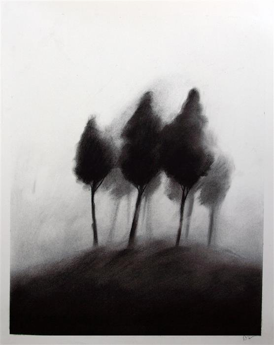 Original art for sale at UGallery.com | Trees by Drew McSherry | $450 | charcoal drawing | 16.37' h x 13.43' w | ..\art\charcoal-drawing-Trees