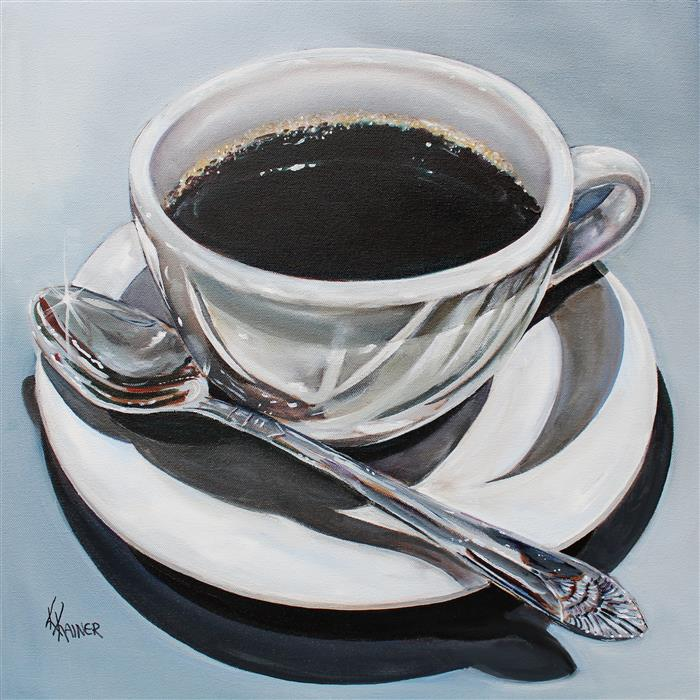 Original art for sale at UGallery.com | Morning Coffee by Kristine Kainer | $1,600 | oil painting | 20' h x 20' w | ..\art\oil-painting-Morning-Coffee-66683
