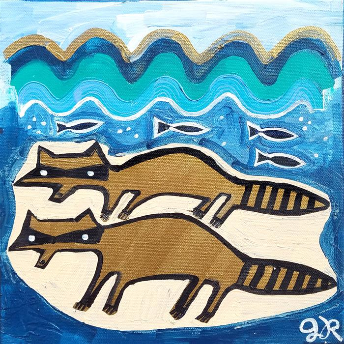 Original art for sale at UGallery.com | Raccoons on the Beach by Jessica JH Roller | $300 | acrylic painting | 10' h x 10' w | ..\art\acrylic-painting-Raccoons-on-the-Beach