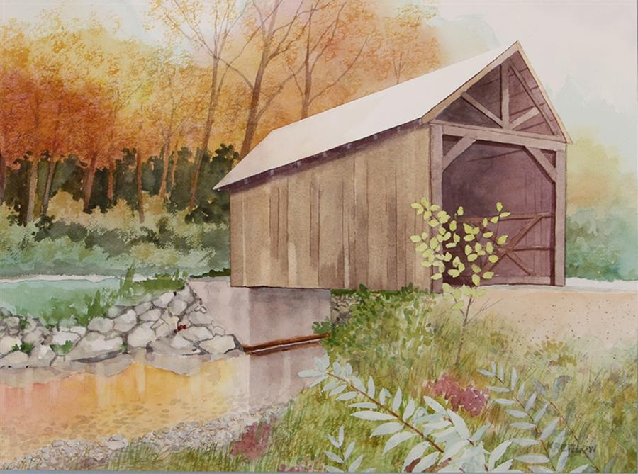 Original art for sale at UGallery.com | Covered Bridge Over White River by Bill Kreitlow | $700 | watercolor painting | 15' h x 20.37' w | ..\art\watercolor-painting-Great-Eddy-Covered-Bridge