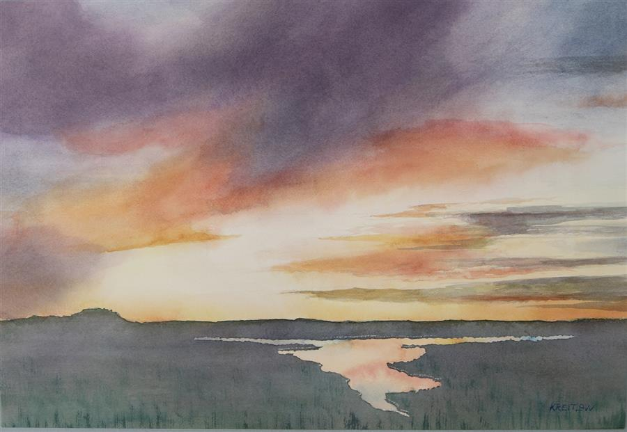 Original art for sale at UGallery.com | Sunset over the Marsh by Bill Kreitlow | $750 | watercolor painting | 15.75' h x 22.5' w | ..\art\watercolor-painting-Sunset-over-the-Marsh
