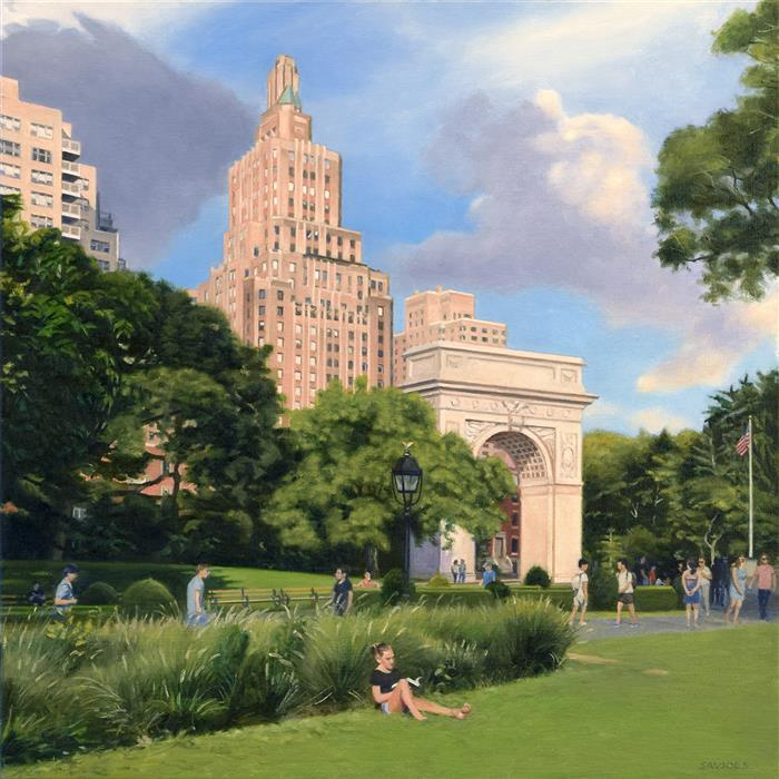 Original art for sale at UGallery.com | Washington Square Park - Summer Afternoon by Nick Savides | $2,850 | oil painting | 24' h x 24' w | ..\art\oil-painting-Washington-Square-Park-Summer-Afternoon