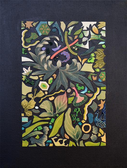 Original art for sale at UGallery.com | Kimono Soul (green) by Tomo Mori | $725 | mixed media artwork | 12' h x 9' w | ..\art\mixed-media-artwork-Kimono-Soul-green