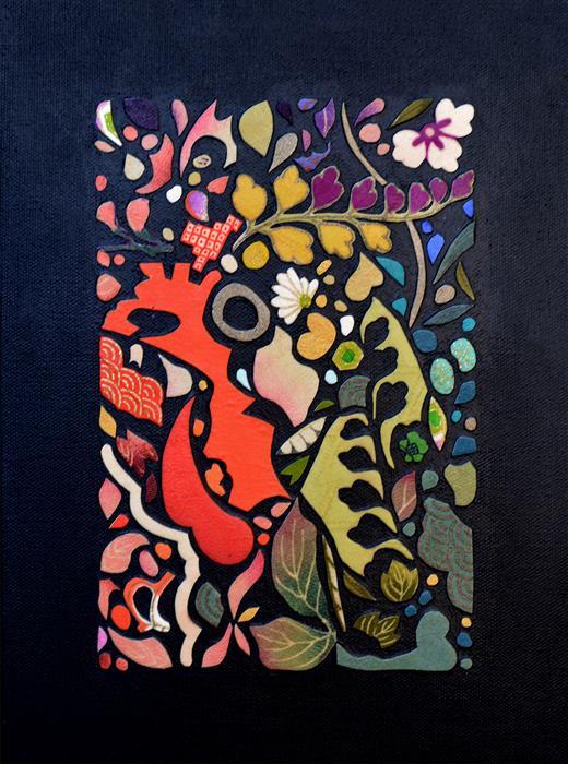 Original art for sale at UGallery.com | Kimono Soul (all color) by Tomo Mori | $725 | mixed media artwork | 9' h x 12' w | ..\art\mixed-media-artwork-Kimono-Soul-all-color