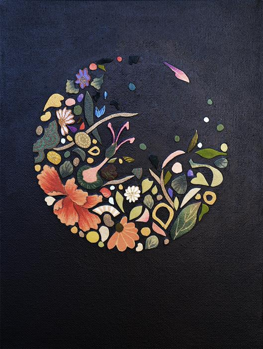 Original art for sale at UGallery.com | Kimono Soul (circle, orange, green) by Tomo Mori | $725 | mixed media artwork | 12' h x 9' w | ..\art\mixed-media-artwork-Kimono-Soul-circle-orange-green