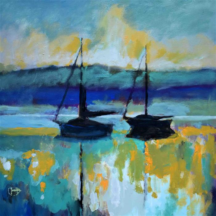 Original art for sale at UGallery.com | Harbor Pals by Kip Decker | $1,050 | acrylic painting | 24' h x 24' w | ..\art\acrylic-painting-Harbor-Pals