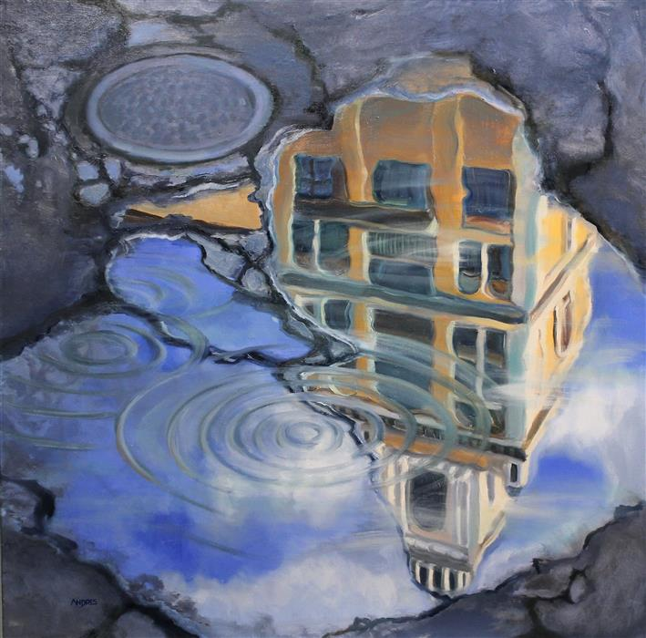Original art for sale at UGallery.com | The Yellow Tower by Andres Lopez | $1,275 | oil painting | 30' h x 30' w | ..\art\oil-painting-The-Yellow-Tower