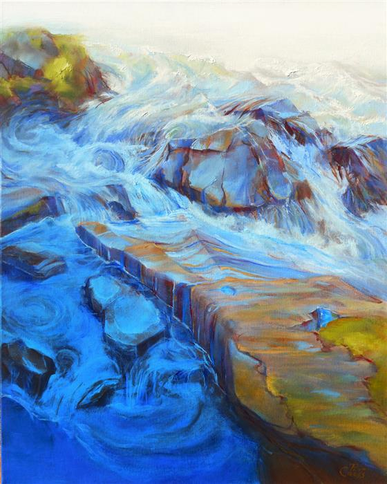 Original art for sale at UGallery.com | Emerging Bedrock by Pat Cross | $1,300 | oil painting | 20' h x 16' w | ..\art\oil-painting-Emerging-Bedrock