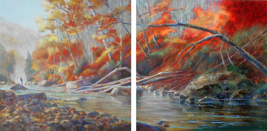 Original art for sale at UGallery.com | Casting on the Current by Pat Cross | $2,900 | oil painting | 24' h x 48' w | ..\art\oil-painting-Casting-on-the-Current