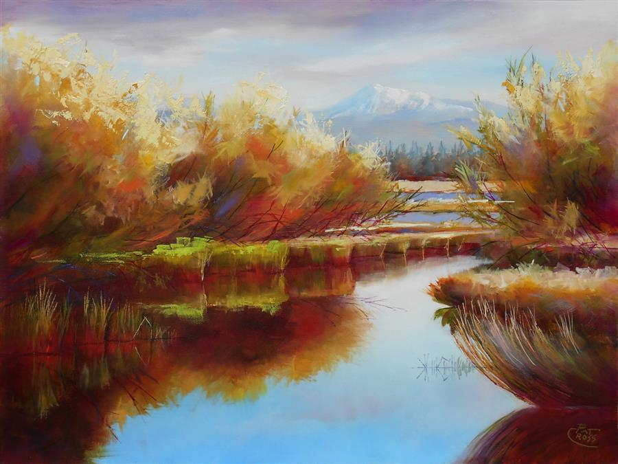Original art for sale at UGallery.com | Welcoming Willows by Pat Cross | $800 | oil painting | 12' h x 16' w | ..\art\oil-painting-Welcoming-Willows