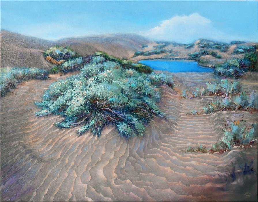 Original art for sale at UGallery.com | Sage on Desert Waves by Pat Cross | $1,700 | oil painting | 22' h x 28' w | ..\art\oil-painting-Sage-on-Desert-Waves