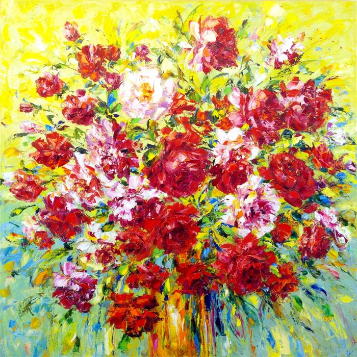 Original art for sale at UGallery.com | Summer Bouquet of Roses by Iryna Kastsova | $2,350 | oil painting | 39' h x 39' w | ..\art\oil-painting-Summer-Bouquet-of-Roses