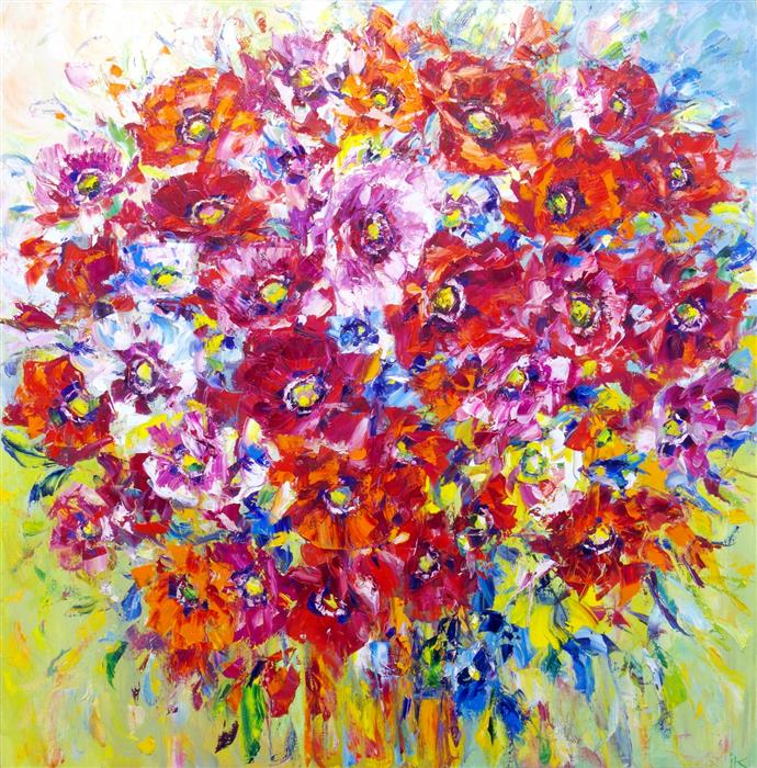 Original art for sale at UGallery.com | Poppy Mood by Iryna Kastsova | $2,450 | oil painting | 39' h x 39' w | ..\art\oil-painting-Poppy-Mood