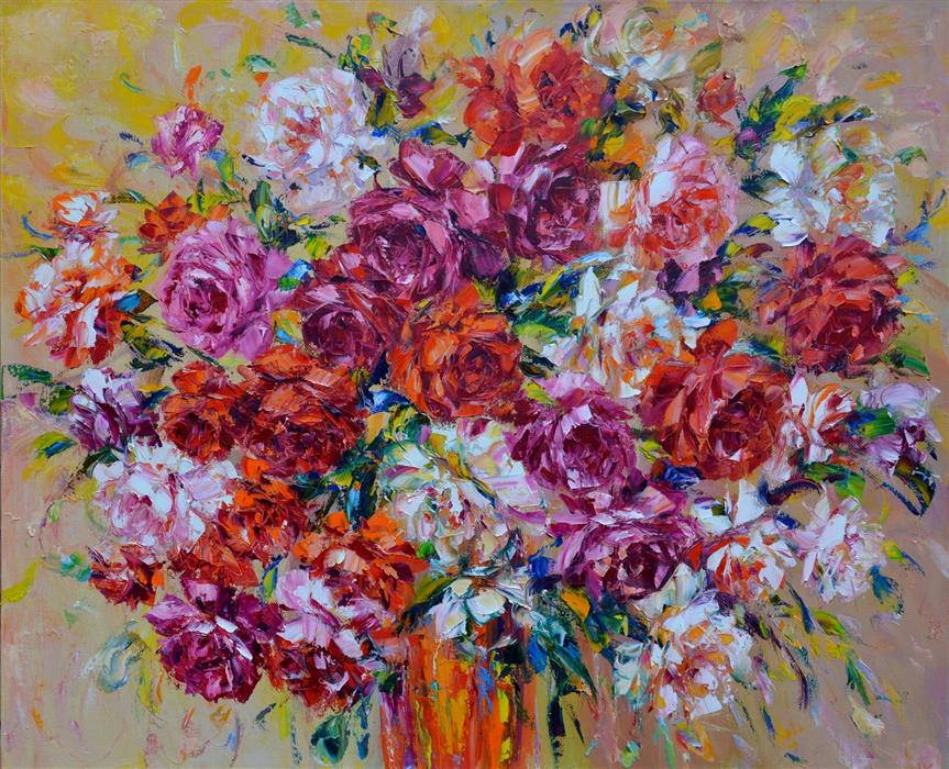 Original art for sale at UGallery.com | Roses for Good Luck by Iryna Kastsova | $2,400 | oil painting | 36' h x 43' w | ..\art\oil-painting-Roses-for-Good-Luck